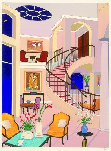 """Fanch Ledan - """"Interior with Klimt"""" - Another interior, as is Ledan's signature.  Klimt's """"The Kiss"""" can be seen to the left of the spiral staircase.  I am fond of this picture as we used to live in a house with a spiral staircase.  It was a nightmare; you never think about what it will be like to move the furniture upstairs."""