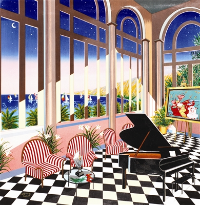 """Fanch Ledan - """"Interior with Max"""" This is one of the first paintings we bought.  If you read my posts last week, there is a picture of it hanging in my apartment.  I love the bright colors, the ocean outside, and the miniature of the Peter Max, since we also own a Max (not the one pictured, though)."""