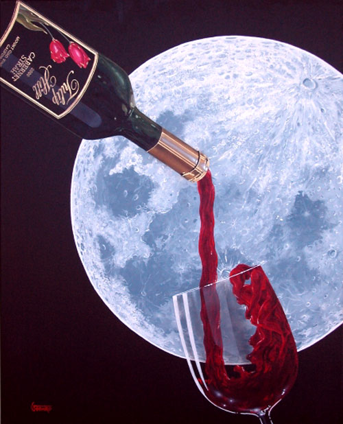 """Michael Goddard - """"Lover's Moon"""" Note how the wine turns into two lover's silhouetted against the backdrop of the moon."""